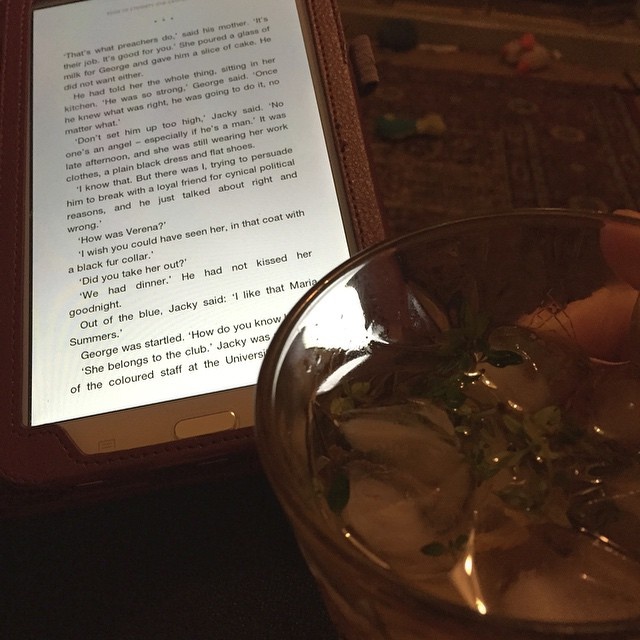 My view this Saturday night: reading Ken Follet's latest book with a cocktail based on a £8 drink I had last night. All with my feet up. Not bad friends, not bad.