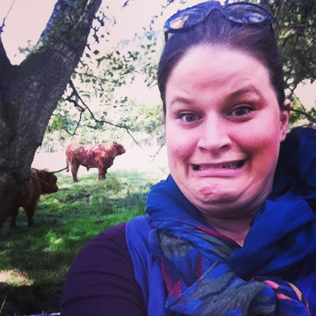 This is my excited (kind of scared) selfie face with these jellybean cows...